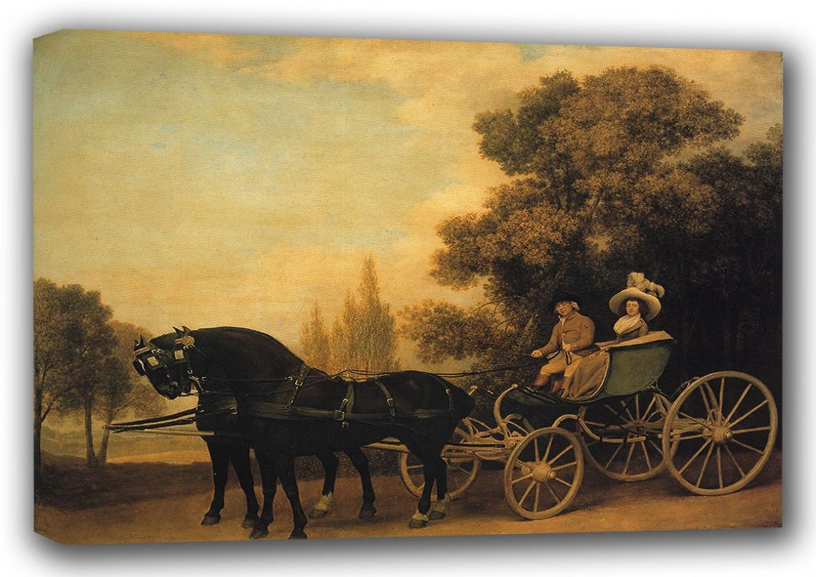 Stubbs, George: Gentleman Driving a Lady in a Phaeton. Fine Art Sports Canvas. Sizes: A3/A2/A1 (001155)